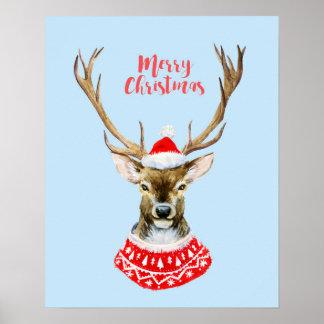 Poster Aquarelle de Noël | - renne bleu de Père Noël