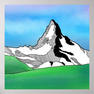 Poster Aquarelle Matterhorn Suisse de schéma