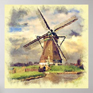 Poster Aquarelle néerlandaise vintage rustique mignonne