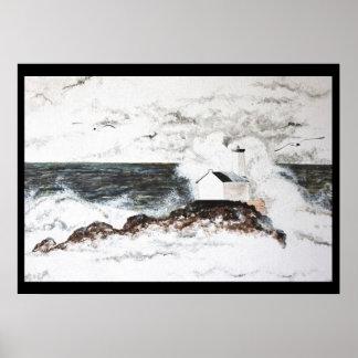Poster aquarelle phare tempête Bretagne île