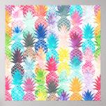 Poster Aquarelle tropicale de motif hawaïen d'ananas