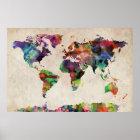Poster Aquarelle urbaine de carte du monde