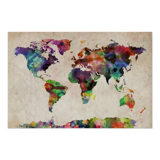 poster world map urban watercolor. Black Bedroom Furniture Sets. Home Design Ideas