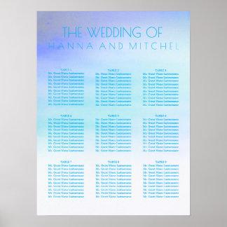 Poster Aquarelles bleues épousant le diagramme