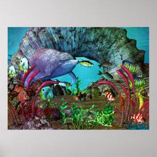Poster Aquarium 3D de la découverte 2 de dauphin