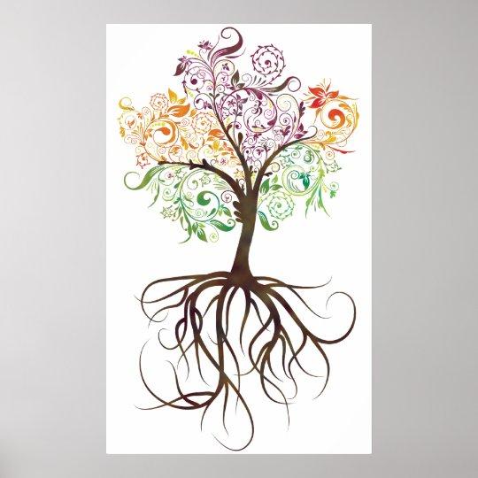 Arbre Avec Racine poster arbre coloré avec l'affiche de racines | zazzle.fr