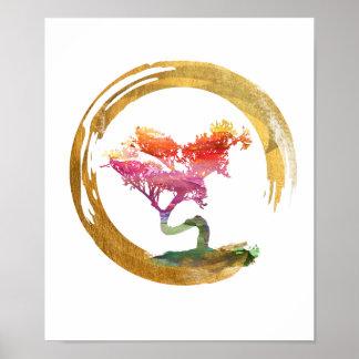 Poster Arbre de bonsaïs. Cercle d'Enso de zen. Art