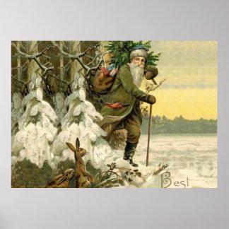 Poster Arbre de Noël antique vintage du père noël
