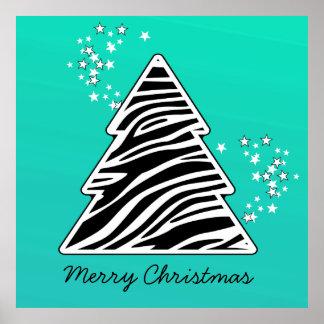 Poster Arbre de Noël de zèbre de turquoise