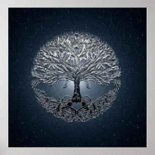Poster Arbre de nuit paisible de ciel bleu de la vie