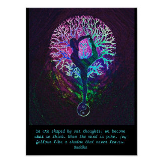 Poster Arbre de yoga - citation de Bouddha