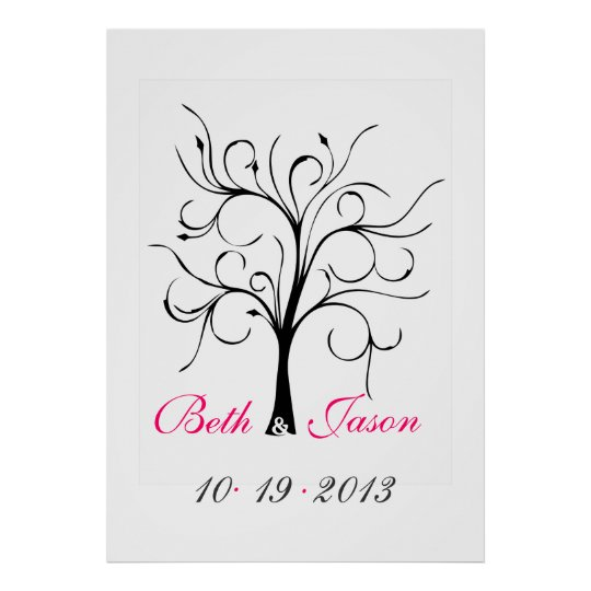 poster arbre d 39 empreinte digitale de mariage. Black Bedroom Furniture Sets. Home Design Ideas
