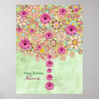 Poster Arbre rose de fleurs de fleur - anniversaire