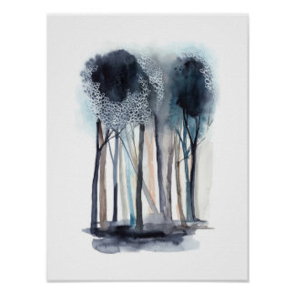Poster Arbres abstraits tranquilles