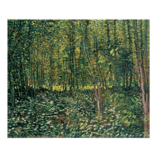 Poster Arbres de Vincent van Gogh   et broussaille, 1887