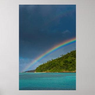 Poster Arc-en-ciel au-dessus d'île, Samoa américaines