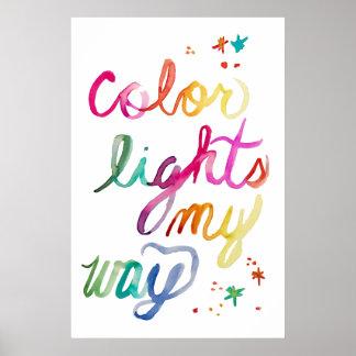 Poster Arc-en-ciel coloré lumineux de lettrage de brosse