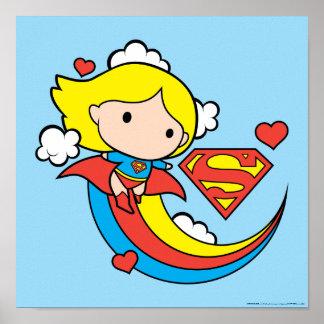 Poster Arc-en-ciel de vol de Chibi Supergirl