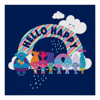 Poster Arc-en-ciel heureux des trolls |