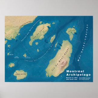 Poster Archipel de Montréal--Carte de hausse de mer
