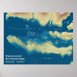 Poster Archipel de Vancouver--Carte de hausse de mer
