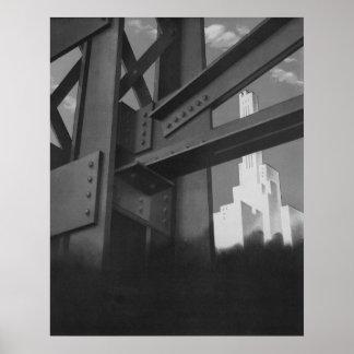 Poster Architecture en acier vintage de gratte-ciel de