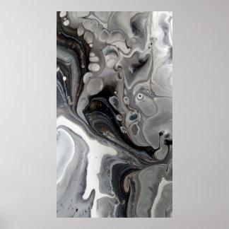 Poster Argent liquide blanc noir de gris d'abrégé sur