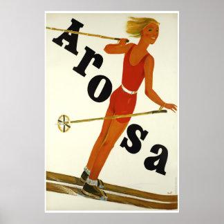 Poster Arosa, Suisse, affiche de voyage de ski