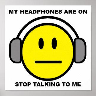 Poster Arrêt d'écouteurs parlant l'affiche drôle