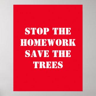 Poster Arrêtez les économies de travail les arbres