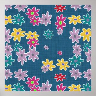Poster Arrière - plan bleu avec le motif de fleurs coloré