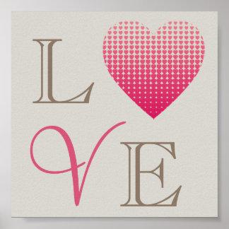 Poster Arrière - plan gris rouge de petit amour rose de