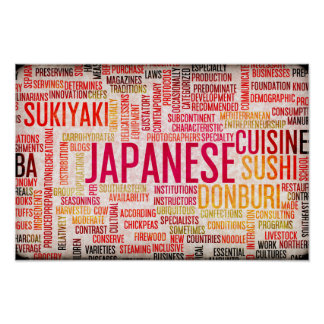 Poster Arrière - plan japonais de menu de nourriture et