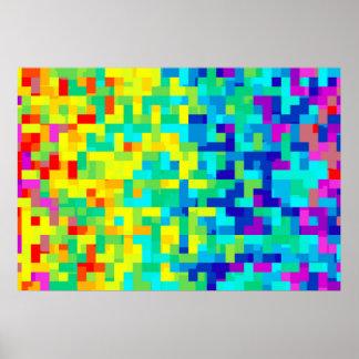 Poster Arrière - plan sans couture de motif de pixel en