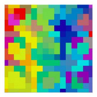 Poster Arrière - plan sans couture de pixel avec coloré