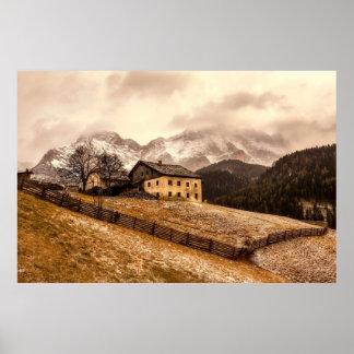 Poster Arrière - plan vintage de montagne de Chambre de
