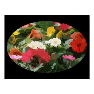 Poster Art abstrait de fleurs colorées d'asters dans un
