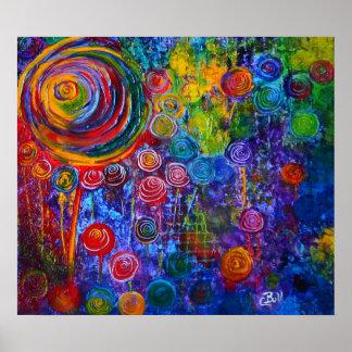 Poster Art abstrait de motif de cercles de remous de