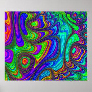 Poster Art abstrait texturisé coloré de l'arc-en-ciel 3D