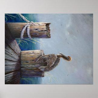 Poster Art acrylique d'océan de pélican de Brown de côte