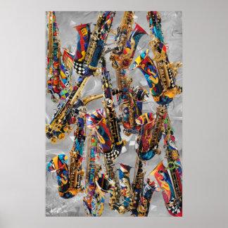 Poster Art coloré de mur de saxo d'affiche de saxophone