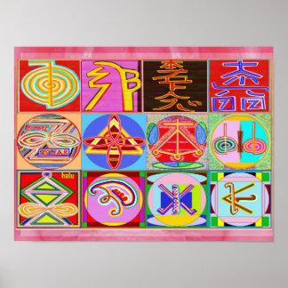 Poster Art curatif pur de REIKI - 12 symboles