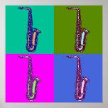 Poster Art de bruit de saxophone d'alto