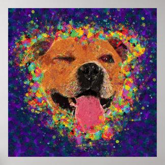 Poster Art de bruit heureux de pitbull
