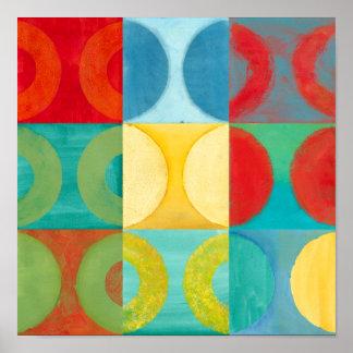 Poster Art de bruit lumineux avec des cercles et des