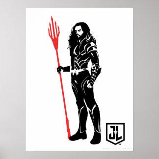 Poster Art de bruit Noir de pose de la ligue de justice |