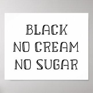 Poster Art de café - noir, aucune crème, aucun sucre