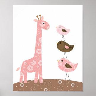 Poster Art de crèche de girafe et d'oiseau
