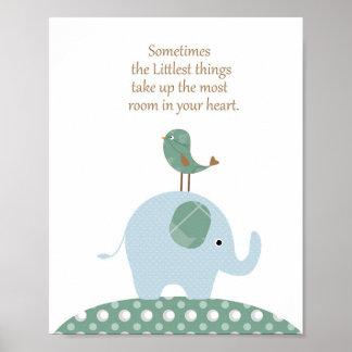 Poster Art de crèche d'oiseau d'éléphant