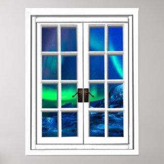 Poster Art de fenêtre de lumières du nord de Borealis de
